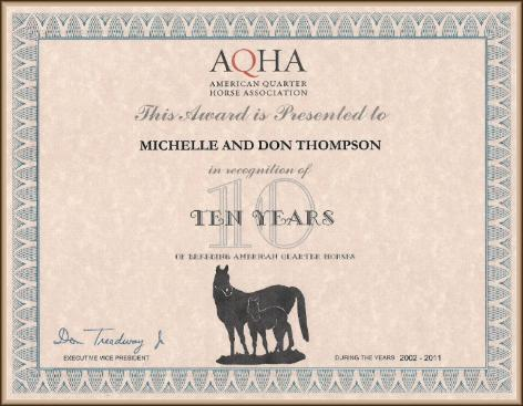 AQHA Breeder Recognition Certificate